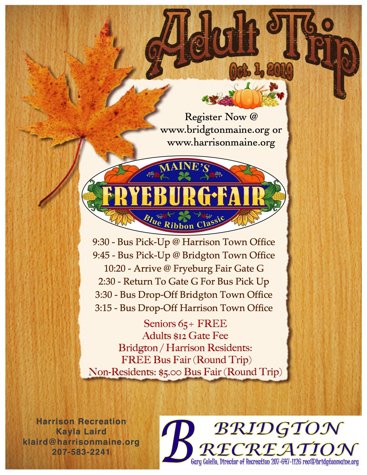 Fryeburg Fair 2020 Schedule.Fryeburg Fair Adult Trip Town Of Bridgton Maine